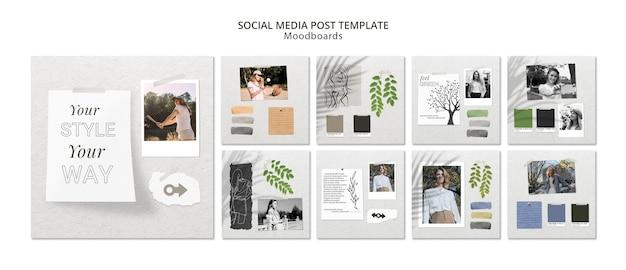 Concept de publication de médias sociaux avec moodboard