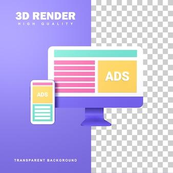 Concept publicitaire de rendu 3d pour promouvoir les produits.
