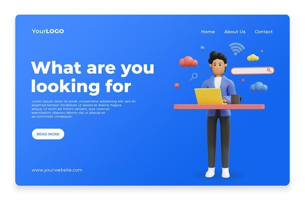 Concept de recherche pour le rendu 3d de la page d'accueil de la page de destination psd premium