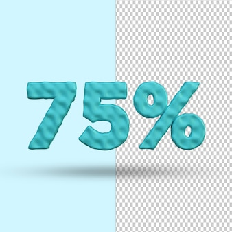 Concept de rendu 3d 75 pour cent de réduction psd premium psd premium