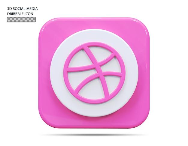 Concept de rendu 3d icône dribbble