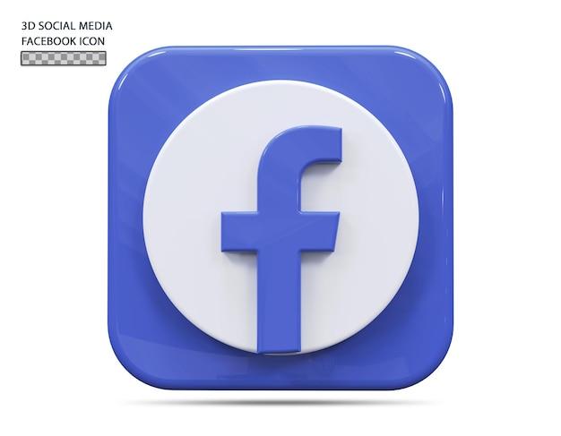 Concept de rendu 3d icône facebook