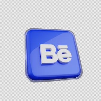 Concept de rendu 3d icône de médias sociaux behance