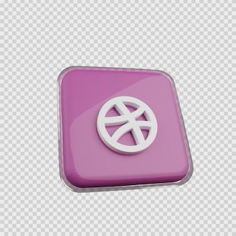 Concept de rendu 3d icône de médias sociaux dribbble