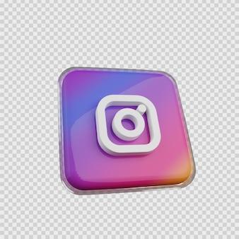 Concept de rendu 3d icône de médias sociaux instagram