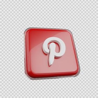 Concept de rendu 3d icône de médias sociaux pinterest
