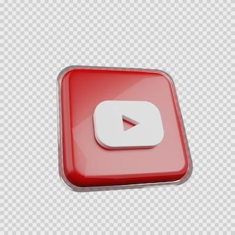 Concept de rendu 3d icône de médias sociaux youtube