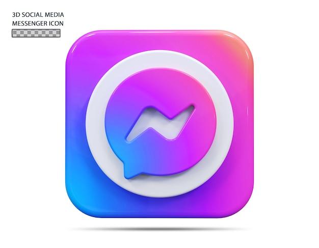 Concept de rendu 3d icône messenger