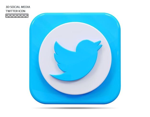 Concept de rendu 3d icône twitter