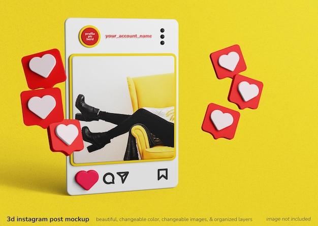Concept de rendu 3d de post de cadre d'applications instagram avec une maquette de notifications similaires