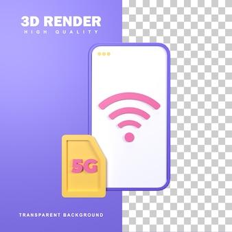 Concept de réseau 5g de rendu 3d avec connexion rapide.