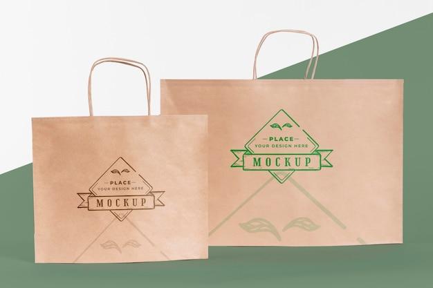 Concept de sac en papier avec maquette
