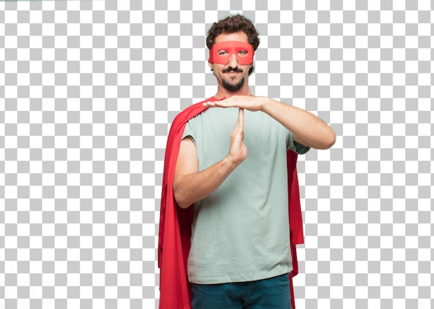 Concept de temps mort jeune homme de super héros fou