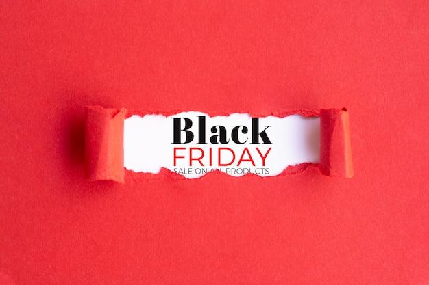 Concept de vendredi noir sur fond rouge