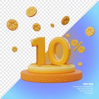 Concept de vente d'été de 10 pour cent avec rendu 3d du podium orange tranche