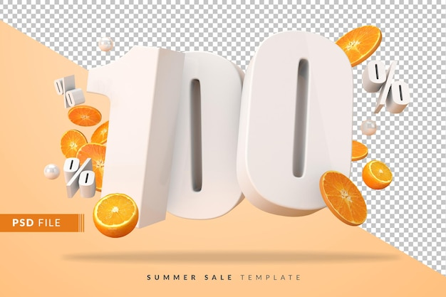 Concept de vente d'été à 100% avec des oranges coupées en rendu 3d