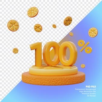 Concept de vente d'été à 100 pour cent avec rendu 3d du podium orange tranche