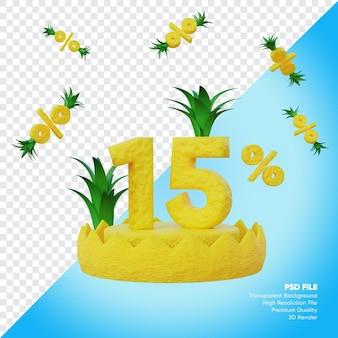 Concept de vente d'été de 15 pour cent avec rendu 3d du podium à l'ananas