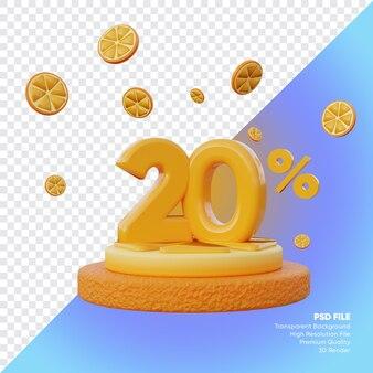 Concept de vente d'été de 20 pour cent avec rendu 3d du podium orange tranche