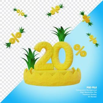 Concept de vente d'été de 20 pour cent avec rendu 3d de podium d'ananas