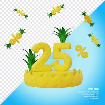 Concept de vente d'été de 25 pour cent avec rendu 3d du podium à l'ananas