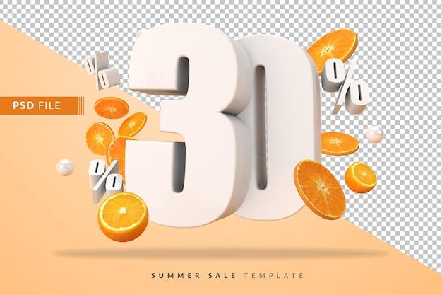 Concept de vente d'été de 30 pour cent avec des oranges coupées en rendu 3d
