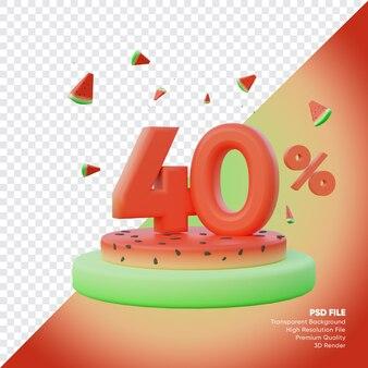 Concept de vente d'été de 40 pour cent avec podium de pastèque rendu 3d