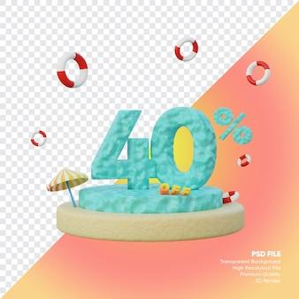 Concept de vente d'été de 40 pour cent avec rendu 3d du podium du numéro de l'océan
