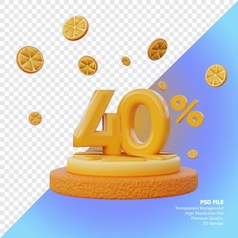 Concept de vente d'été de 40 pour cent avec rendu 3d du podium orange tranche