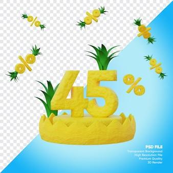 Concept de vente d'été de 45 pour cent avec rendu 3d de podium d'ananas
