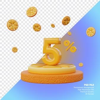 Concept de vente d'été de 5 pour cent avec rendu 3d du podium orange tranche