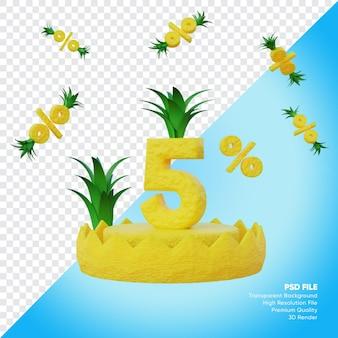 Concept de vente d'été de 5 pour cent avec rendu 3d de podium d'ananas