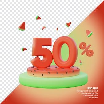Concept de vente d'été de 50 pour cent avec podium de pastèque rendu 3d