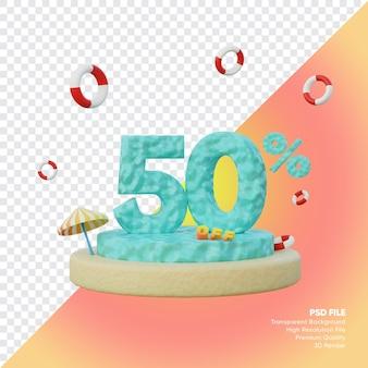 Concept de vente d'été de 50 pour cent avec rendu 3d du podium du numéro de l'océan