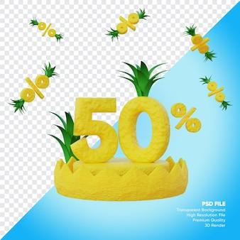 Concept de vente d'été de 50 pour cent avec rendu 3d de podium d'ananas