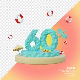 Concept de vente d'été de 60 pour cent avec rendu 3d du podium du numéro de l'océan