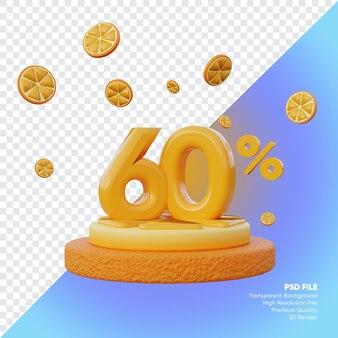 Concept de vente d'été de 60 pour cent avec rendu 3d du podium orange tranche
