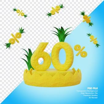 Concept de vente d'été de 60 pour cent avec rendu 3d de podium d'ananas
