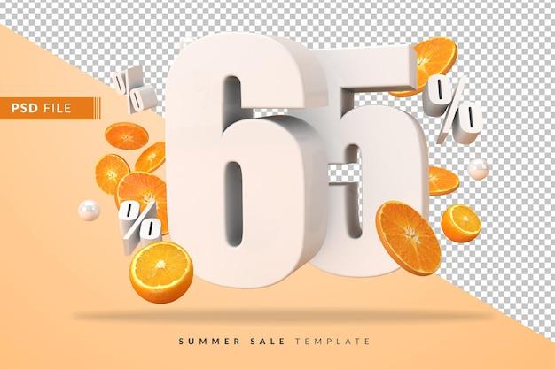 Concept de vente d'été de 65% avec des oranges coupées en rendu 3d