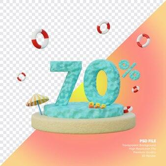 Concept de vente d'été de 70 pour cent avec rendu 3d du podium du numéro de l'océan
