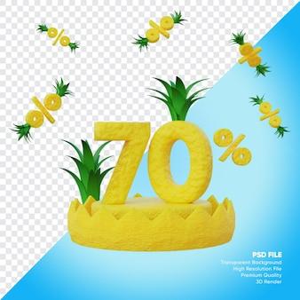 Concept de vente d'été de 70 pour cent avec rendu 3d de podium d'ananas