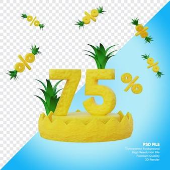 Concept de vente d'été à 75 pour cent avec rendu 3d du podium ananas