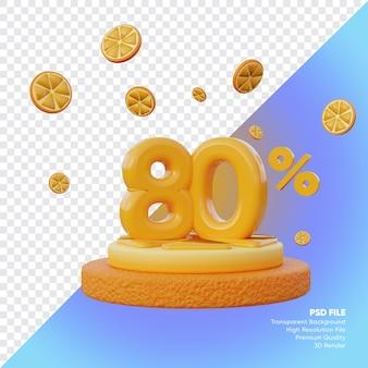 Concept de vente d'été à 80 pour cent avec rendu 3d du podium orange tranche