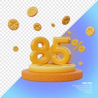 Concept de vente d'été à 85 pour cent avec rendu 3d du podium orange tranche