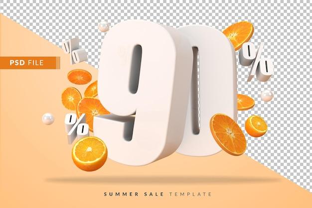 Concept de vente d'été à 90% avec des oranges coupées en rendu 3d