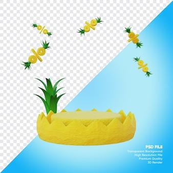Concept de vente d'été de podium avec rendu 3d d'ananas