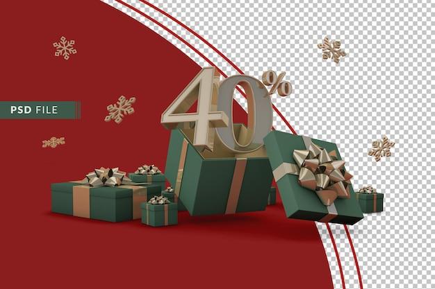 Concept de vente de noël avec 40 pour cent de réduction sur les coffrets cadeaux promotionnels