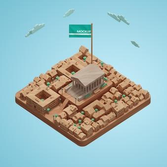 Concept de villes journée mondiale modèle 3d