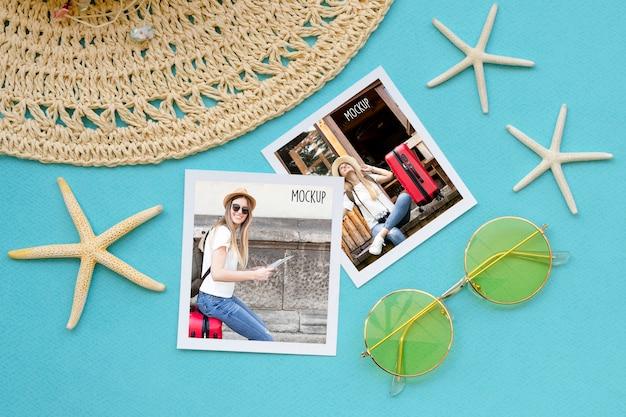 Concept de voyage plat avec des lunettes de soleil