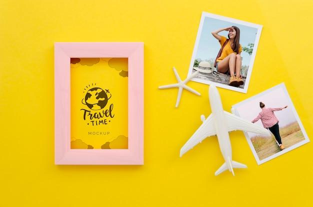 Concept de voyage plat avec des photos